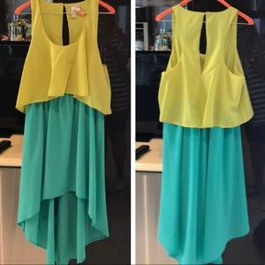F21 Green Two Tone High Low Dress